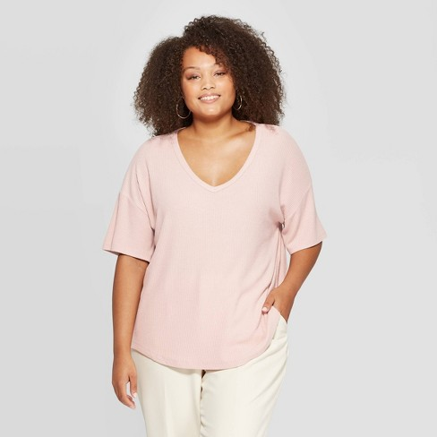 Women's Plus Size Short Sleeve V-Neck Cozy Rib Top - A New Day™ - image 1 of 3