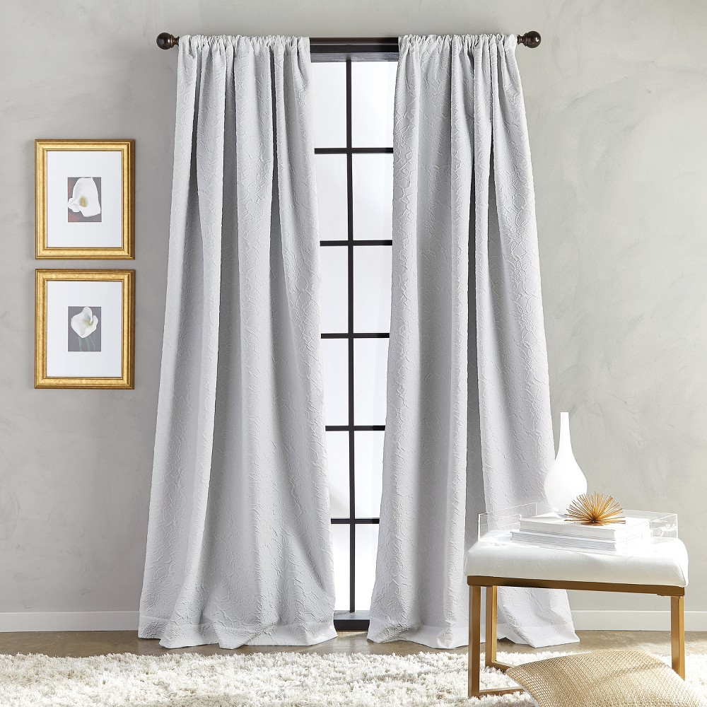 "Image of ""108"""" Bloomsbury Poletop Lined Curtain Panel Gray"""