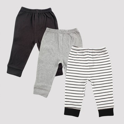 Luvable Friends Baby 3pk Striped Tapered Ankle Pull-On Pants - Black/Gray 9M