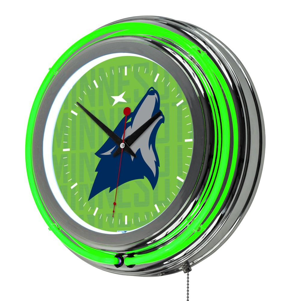 NBA Minnesota Timberwolves City Chrome Double Rung Neon Clock