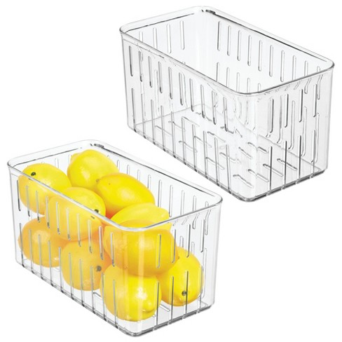 mDesign Vented Fridge Storage Bin Basket for Fruit, Vegetables, Medium - image 1 of 4