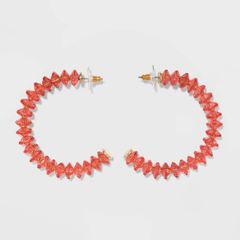 SUGARFIX by BaubleBar Clear Acrylic Hoop Earrings - Coral - image 1 of 2