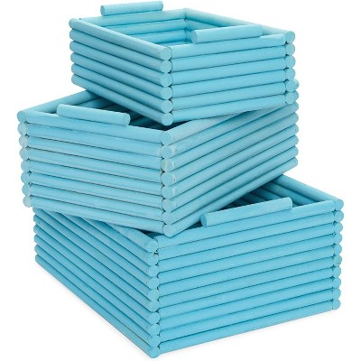 Juvale 3 Pack Wooden Crate Nesting Boxes for Storage Blue Organizers (3 Sizes)