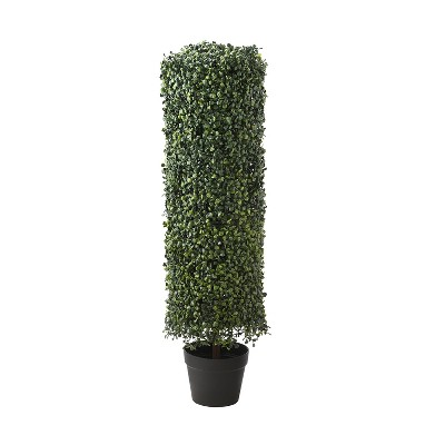 National Tree Company Indoor & Outdoor 36 Inch Boxwood Column Topiary Artificial Tree with Classic Black Plastic Growers Pot, 36 Inches Tall