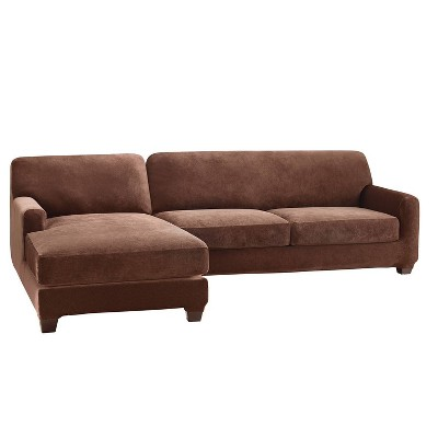 Stretch Pique 2STL Sofa Sectional Slipcover Chocolate - Sure Fit