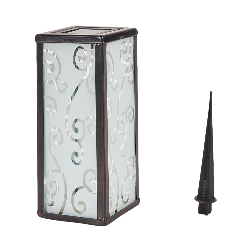 "Image of ""Smart Solar 11"""" Scroll Square LED Outdoor Lantern"""