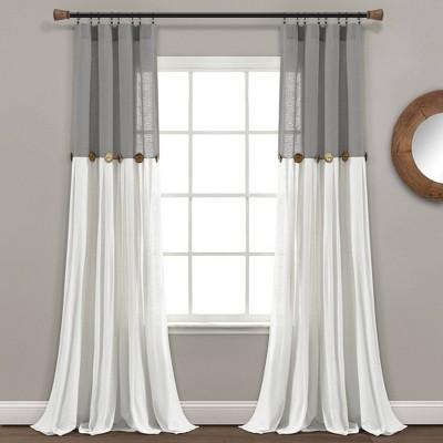 "84""x40"" Linen Button Light Filtering Window Curtain Panels Single Dark Gray/White - Lush Décor"
