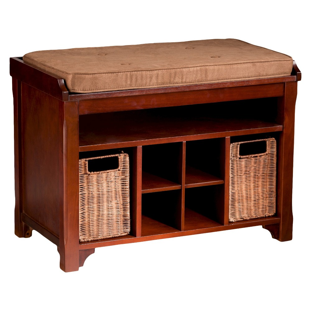 Gordon Entry Bench with Storage - Espresso with Caramel and Carob Brown - Aiden Lane, Espresso Brown