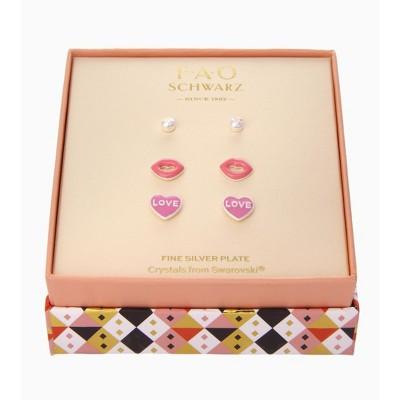 FAO Schwarz Lips & Heart Trio Stud Earring Set