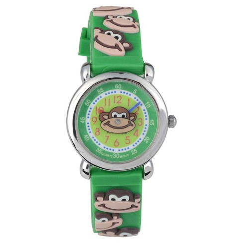 Geneva Platinum® Kid's Geneva Platinum Monkey Design Silicone Strap Watch - Green - image 1 of 3