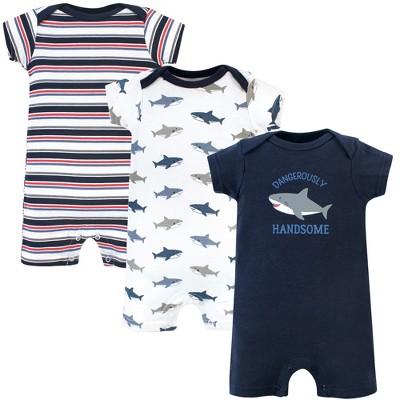 Hudson Baby Infant Boy Cotton Rompers 3pk, Shark