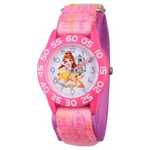 Girls' Disney® Princess Belle Pink Plastic Time Teacher Watch - Pink - image 1 of 2