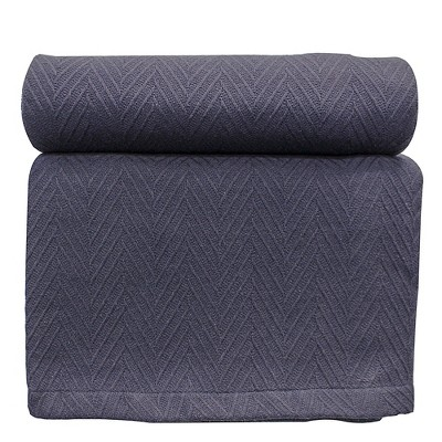All-Season Cotton Chevron Zig-Zag Weave Blanket - Blue Nile Mills