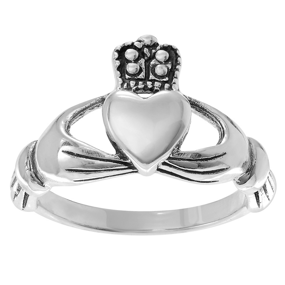 Women's Journee Collection Polished Claddagh Ring in Sterling Silver - Silver, 8