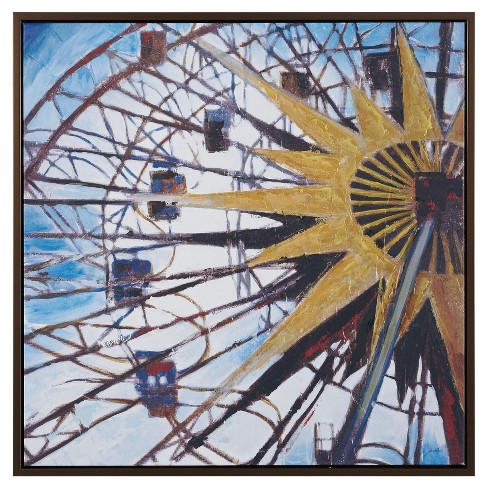 Carnival Ferris Wheel Hand Embroidered with Gray Frame - image 1 of 4
