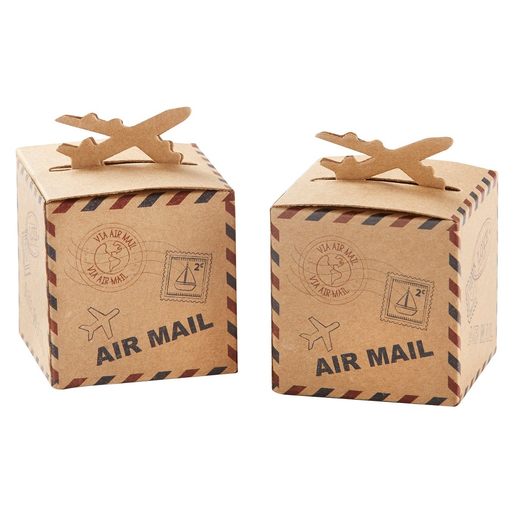 24ct Let the Adventure Begin Airplane Kraft Favor Box, Multi-Colored