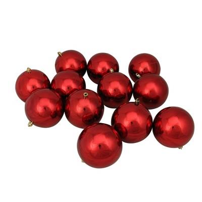 "Northlight 12ct Shatterproof Shiny Christmas Ball Ornament Set 4"" - Red"