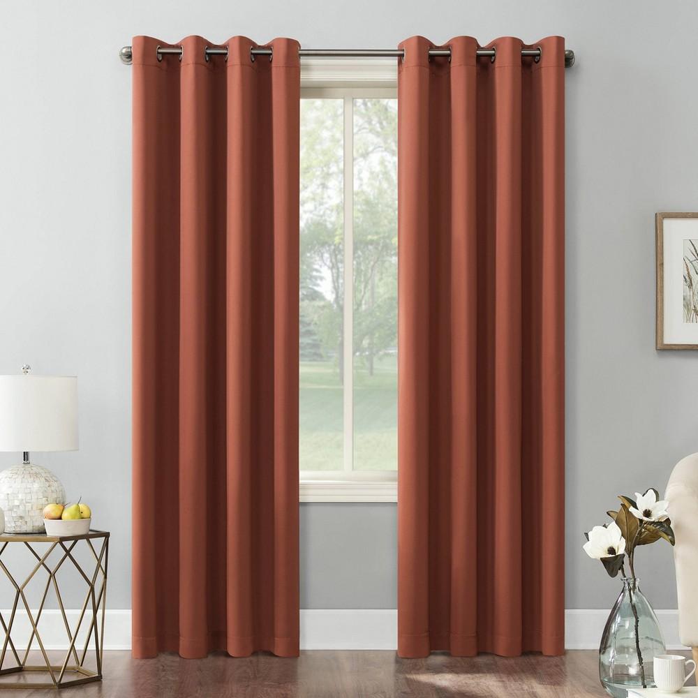 63 34 X54 34 Kenneth Energy Saving Blackout Grommet Top Curtain Panel Orange Sun Zero