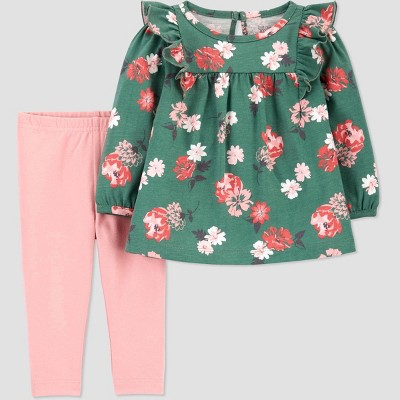 Baby Girls' Floral Top & Bottom Set - Just One You® made by carter's Green 3M