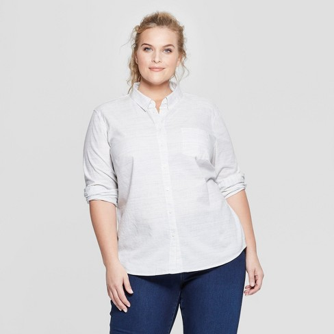 eee544c9c51 Women s Plus Size Long Sleeve Camden Button-Down Shirt - Universal Thread™  Natural