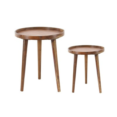 Set of 2 Contemporary Wood Accent Tables White - Olivia & May