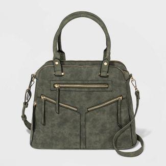 VR NYC Logan Diagonal Zip Pockets Satchel Handbag - Moss