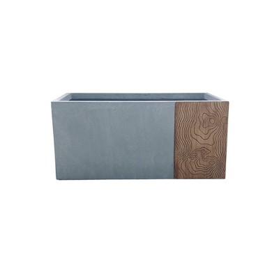 Kante Lightweight Modern Outdoor Concrete Rectangular Planter Timber Ridge Gray - Rosemead Home & Garden, Inc.