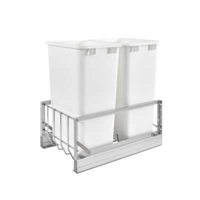 Rev-A-Shelf 5349-2150DM-2 Double 50-Quart Under Mount Pull-Out Waste Container Trash Cans with Soft-Close, White