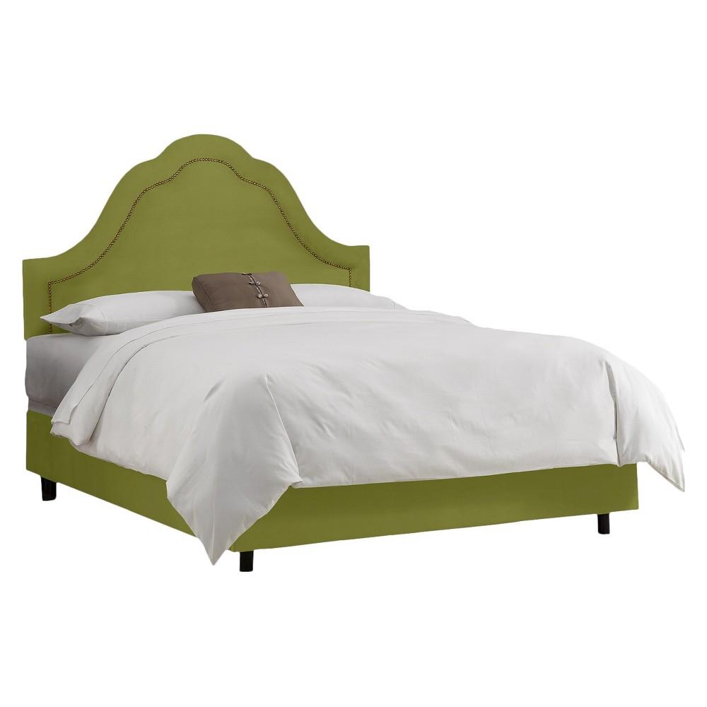 Skyline Custom Upholstered Arch Inset Nail Button Bed - Twin - Skyline Furniture, Velvet Apple Green