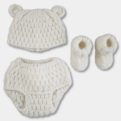d8ace8a513b65 Baby Polar Bear 3pc Chunky Knit Hat Diaper Cover Bootie Set - Cloud Island