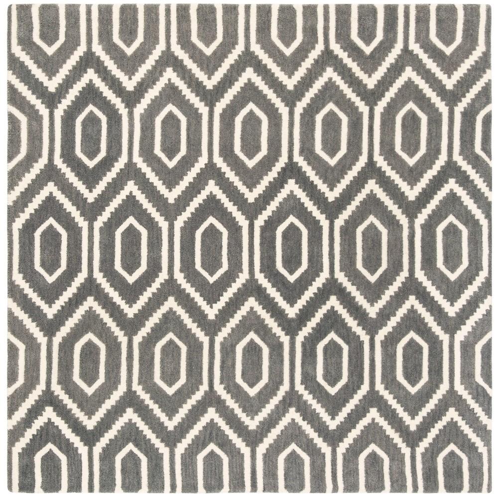 6X6 Geometric Tufted Square Area Rug Dark Gray/Ivory - Safavieh Top