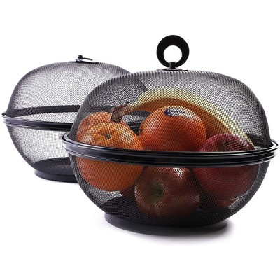 Juvale 2 Pack Mesh Wire Fruit Basket Bowl Storage Holder with Lid for Kitchen Counter, 10 Inch, Black