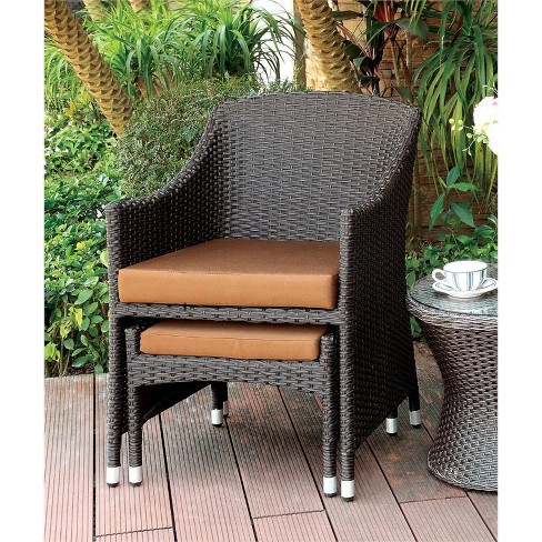 Cool Matson Patio Wicker Arm Chair With Ottoman Furniture Of America Ibusinesslaw Wood Chair Design Ideas Ibusinesslaworg