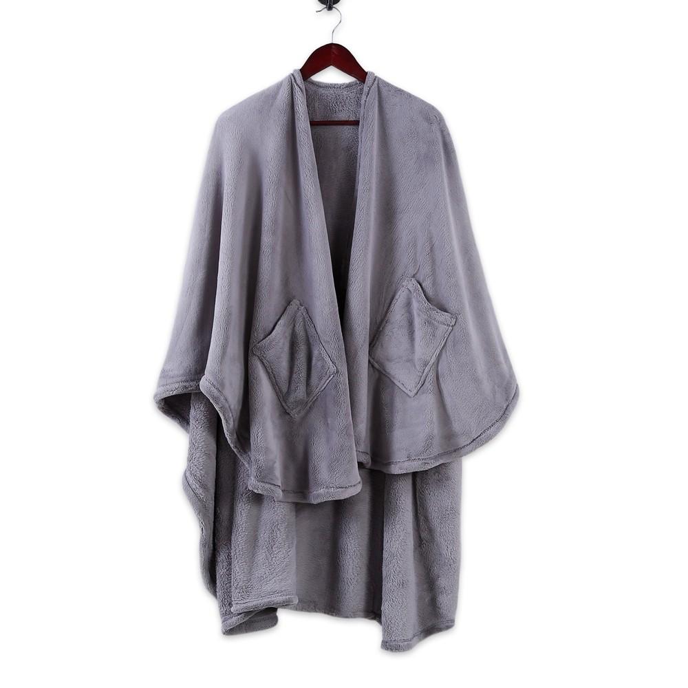 Plush Wrap Blanket Gray - Better Living