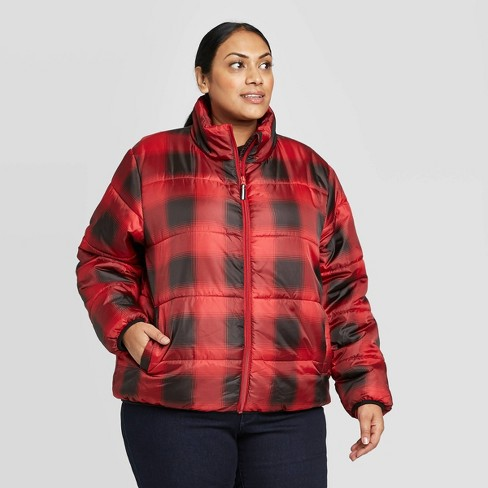 Women's Plus Size Plaid Puffer Jacket - Universal Thread™ Red 2X - image 1 of 3