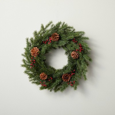 """20"""" Faux Pine Plant Wreath with Red Berries and Pinecones - Hearth & Hand™ with Magnolia"""