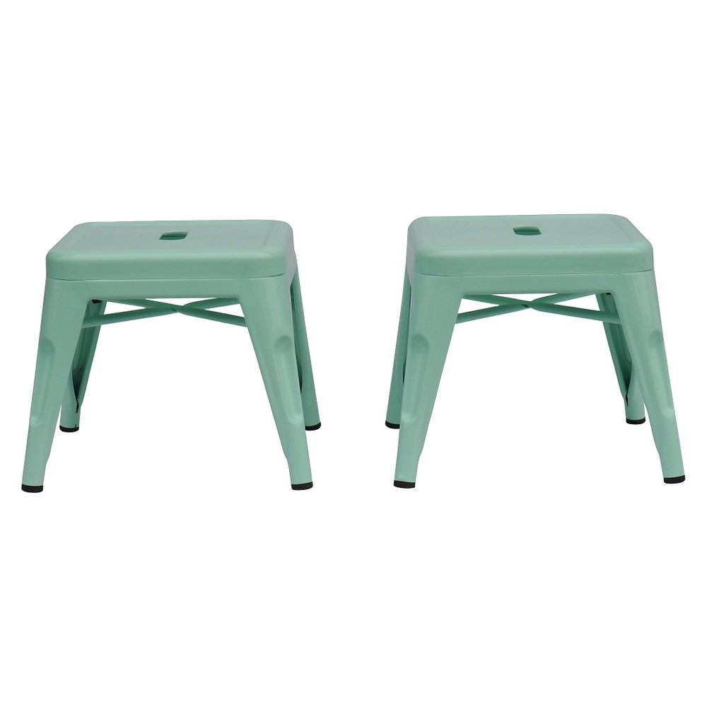 Image of Metal Kids Stool (Set of 2) - Reservation Seating by Ace Bayou, Green Green