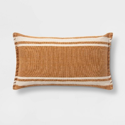 Wool/Cotton Woven Stripe Oversize Lumbar Pillow with Whipstitch Trim Orange - Threshold™