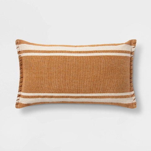 Wool/Cotton Woven Stripe Oversize Lumbar Throw Pillow with Whipstitch Trim - Threshold™ - image 1 of 3