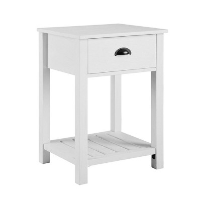 June Rustic Farmhouse Square Nightstand with Lower Shelf - Saracina Home
