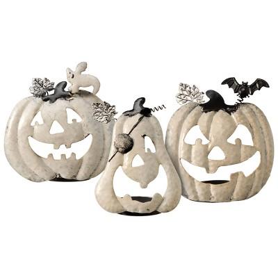 3pk Halloween Pumpkin Candle Holder Set