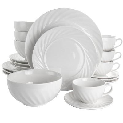 20pc Porcelain Deluxe Clancy Dinnerware Set White - Elama