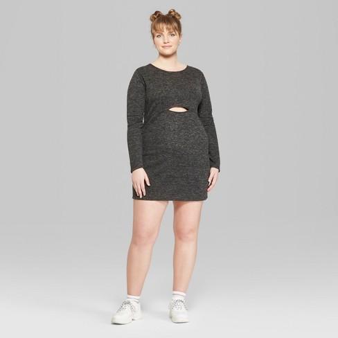 Womens Plus Size Long Sleeve Peekaboo Knit Mini Dress Wild Fable