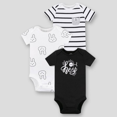 Lamaze Baby Boys' Organic Cotton 3pk Short Sleeve Bodysuit - Black/White Newborn