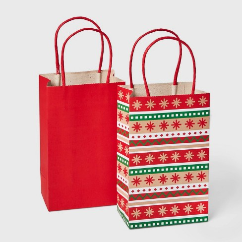 2ct Christmas Gift Bags Red and Green with Fair Isle Pattern - Wondershop™ - image 1 of 2