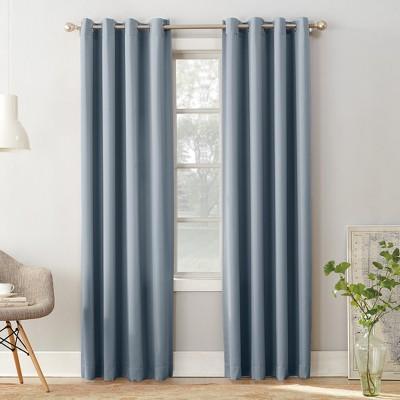 Seymour Room Darkening Grommet Curtain Panel Vintage Blue 54 x84  - Sun Zero