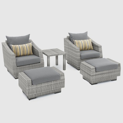 Cannes 5pc Club Chair and Ottoman Set with Cushions - RST Brands