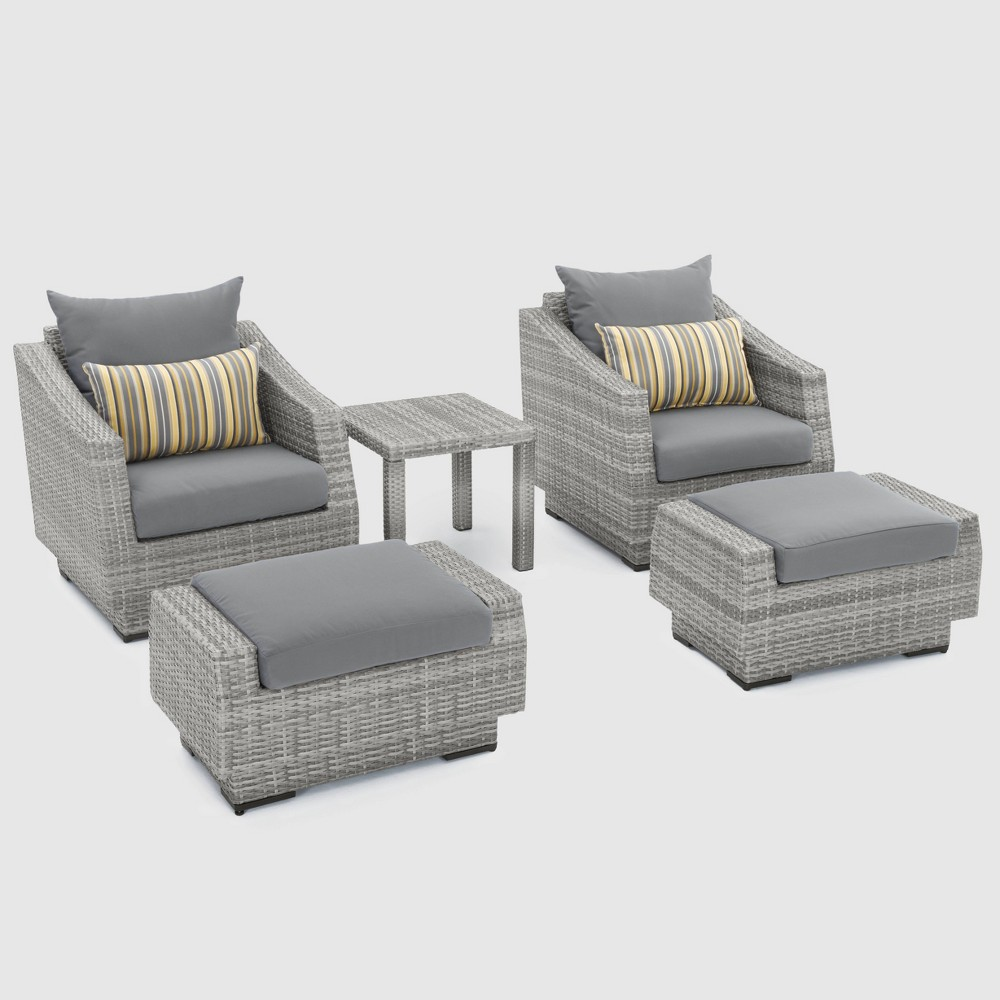 Cannes 5pc Club Chair and Ottoman Set with Cushions - Charcoal Gray - Rst Brands