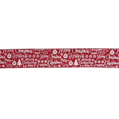 """Northlight Red and White Merry Christmas Wired Craft Ribbon 2.5"""" x 16 Yards"""