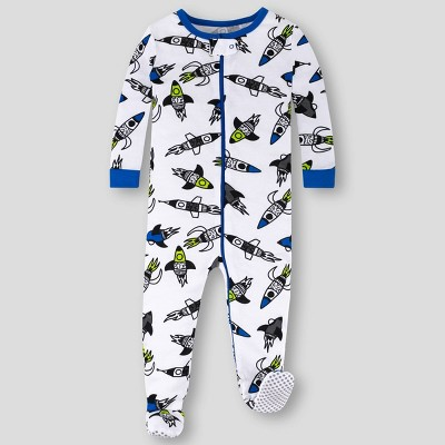 Lamaze Toddler Boys' Rocket Stretchy Organic Cotton Footed Pajama - White/Blue